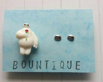 Baymax inspired pin and matching earrings