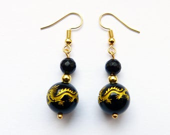 Black Onyx Chinese Dragon Bead Earrings with Gold Plated Hooks