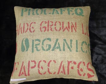 "Coffee bag cover, cushion ""Organic"", 50 x 50 cm"