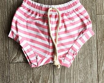 Toddler shorts, baby shorts, shorts, summer clothing, pink shorts, pink striped shorts