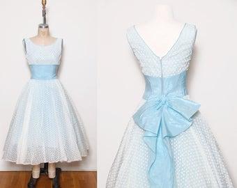 Vintage 50s baby blue party dress / flocked chiffon dress /  satin bow pin up dress / vintage prom dress