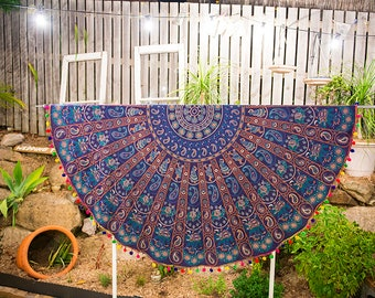Beautiful Blue Handcrafted Large Round Nepalese Mandala Tablecloths Yoga Mat
