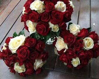 Rose wedding bouquets, bridesmaids, brides bouquet.