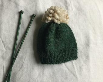 Hand Knitted Newborn Baby Beanie / Baby Beanie With Pom Pom / Baby Beanie / Knit Baby Hat / Dark Green Knit Baby Beanie with Pom Pom