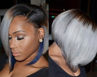 Celebrity Inspired Two Tone Ombre Virgin Remy Human Hair Bob Style Front Lace Wig