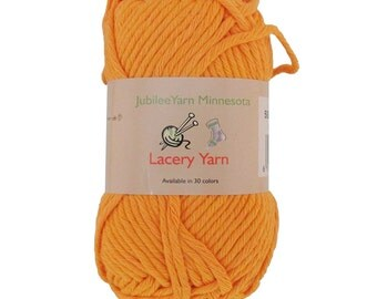 Lacery Yarn 100g - 2 Skeins - All Cotton - Bright Orange - Color 110