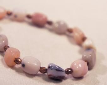 Genuine Pink Peruvian Opal Bracelet Semi Precious Stone Gemstone Healing Crystal Chakra Metaphysical Gift