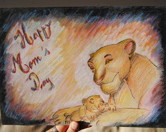 Disney Lion King Colored Pencil Drawing.