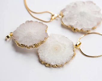 White crystal necklace ,crystal pendant necklace , gold plated necklace