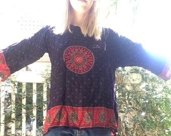 Mandala Print Long Sleeve Top