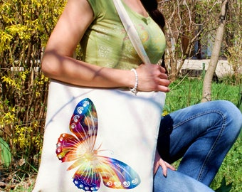 Butterfly tote bag -  Butterfly shoulder bag - Fashion canvas bag - Colorful printed market bag - Gift Idea