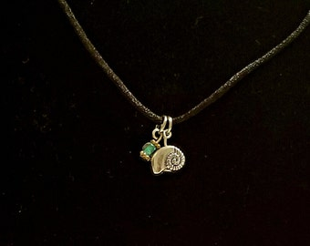 The Seaside Collection; Seashell charm with teal beading