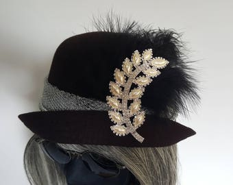 Black Cloche Hat with Silver & Diamente Flower detail