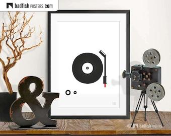 Spin that Vinyl Print, Classic Turntable Poster, Art Print, Black & White, Wall Decor, Vinyl Lovers, Record Player, Music, Gift, Digital Art