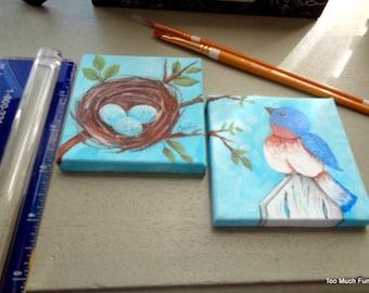 """hand painted, handpainted, pair ORIGINAL mini 3""""x3"""" bluebird and nest PAINTINGS"""