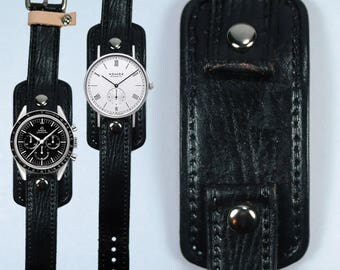 Handmade Hand Sewn Leather Watch Black Cuff Style