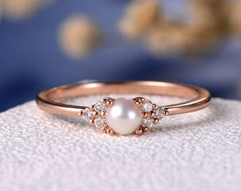 Pearl Engagement Ring 14K Rose Gold Promise Antique Cluster Women Retro Art Deco Diamond Wedding White Akoya Jewelry Thin Anniversary Gift