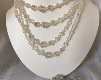 Vintage crystal necklace and earring set