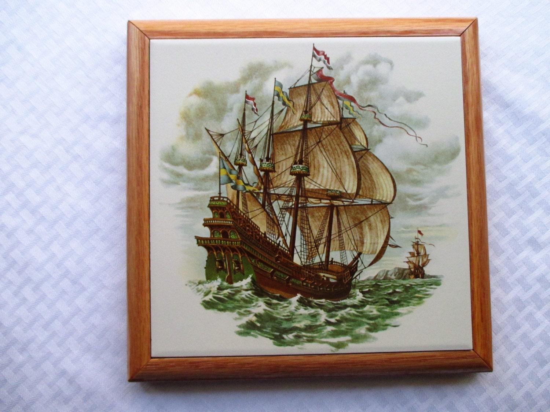Spanish galleon trivet 8 ceramic tile trivet tile trivet hot sold by kilnfiredtreasures dailygadgetfo Images