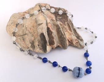 Blue, 27-Bead Hand-Chained Mala, Nenju, Juzu, Prayer Beads, Mediration Beads