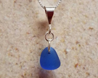 Simple Blue Sea Glass Necklace- FREE SHIPPING!