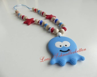 Still wearing necklace silicone of Octopus blue