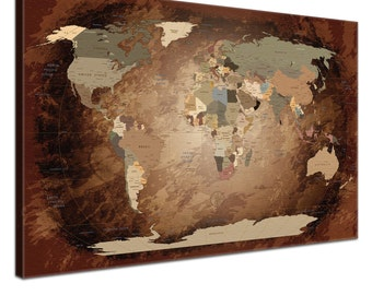 "LanaKK - world map canvas with Cork rear wall to the pin of the destinations - ""worldmap intensive"" - German - art print wall in Brown"
