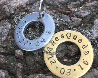 pet id / keychain / pet tag / pet collar / hand stamped jewelry / hand stamped