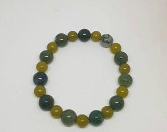 Moss Agate and Olive Jade bracelet