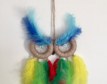 Carneval owl dream catcher with colourful feathers