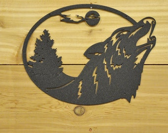 Wolf Deer Round Metal Wall Art