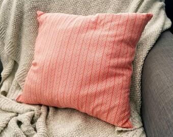 Peach Herringbone Throw Pillow