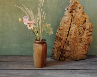 Vintage Handcrafted Wooden Vase, Apricot tree