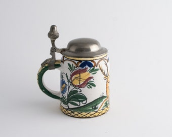 Decorative Hand Painted Small Ceramic Tankard with Deer