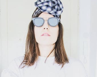 Maxmara blue and white checkered headband/headband/turbante
