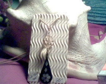 Sterling Silver inlay mother of pearl Necklace/ glass bead.
