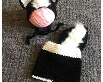 Skunk Outfit Photo Prop, Newborn Skunk Outfit, Baby Skunk Outfit, Baby Skunk Costume, Woodland Baby Shower, Woodland Baby, Crochet Skunk
