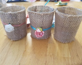 Burlap Candle Holders Custom Made to Order