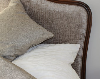Beautiful handmade bed throw in taupe  contemporary textured fabric
