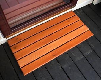 Handmade Wood Entry Mat, Golden Honey Wood Door Mat, Wood Welcome Mat, Wooden Door Mat, Wooden Welcome Mat, Wooden Entry Mat