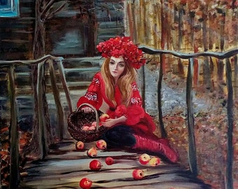A girl with apples 60x60 cm 24x24 inches Original oil & acrylic painting in a fairytale style on cotton canvas