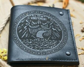 Thor Men's Leather bifold wallet / Viking wallet / Norse mythology gods Scandinavian symbol Germanic pagan Drakkar