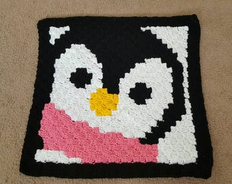 Penguin Baby Blanket- customize scarf color