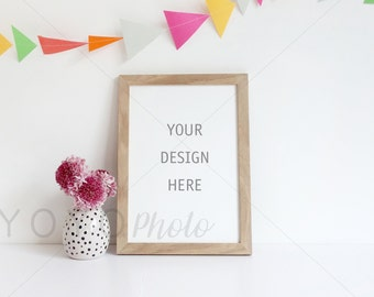 Stock Photography, Wooden Frame Mockup, A4 Frame Picture, A4 Portrait, Colourful Stock Photography, Bunting Styled Stock, Celebration Theme