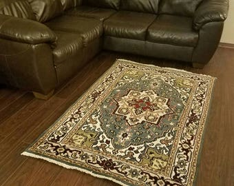 """New Indo HERIZ Oriental hand-knotted Rug 6'1"""" × 3'11"""" FREE SHIPPING"""
