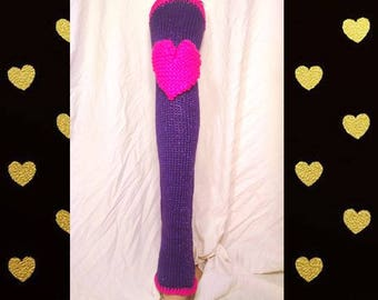Chelsea Leg Warmers - Dance Leg Warmers - Woman's Leg Warmers - Knit - Crochet - Thigh High - Knee Pads - Purple Sparkle with Neon Pink