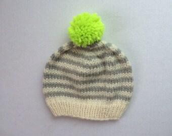 Striped Baby Hat: 0-6 months