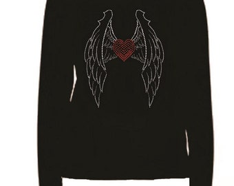 Rhinestone heart With Wings Long Sleeve                                                                HL8E
