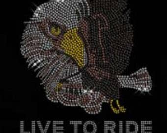 Rhinestone Born to Ride Lightweight T-Shirt or DIY Iron On T Shirt Transfer                                   DU59