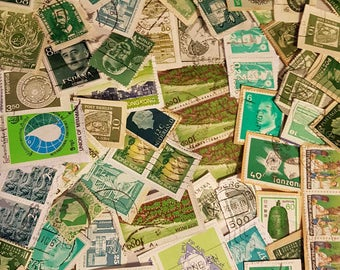 Over 70 Stamps - Shades of Green Vintage postage stamp Lot, on paper vintage used stamps, collage, papercraft, ephemera (e255)
